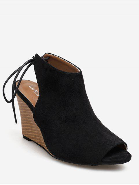 lady Peep Toe Wedge Heel Slingback Shoes - BLACK EU 39 Mobile
