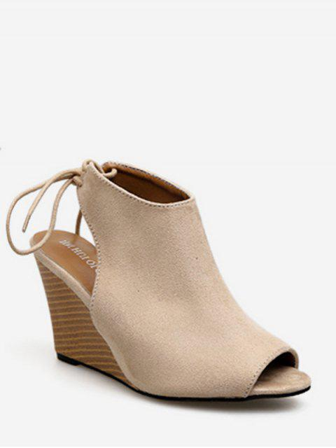 new Peep Toe Wedge Heel Slingback Shoes - APRICOT EU 39 Mobile