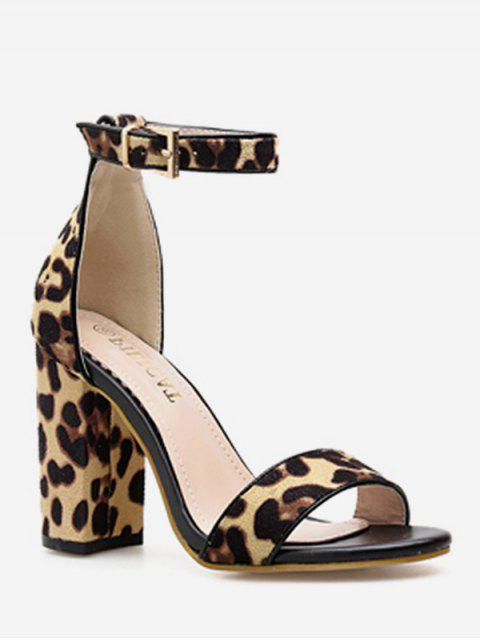 unique Leopard Chunky Heel Ankle Strap Sandals - LEOPARD EU 37 Mobile