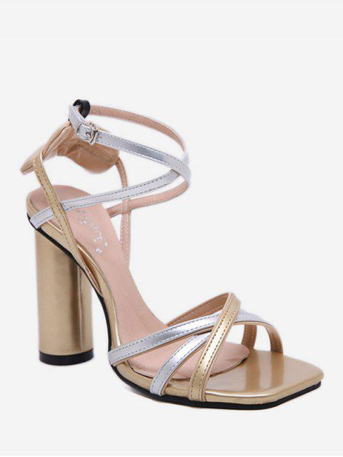 shops Strappy Chunky Heel Sandals - GOLD EU 38 Mobile