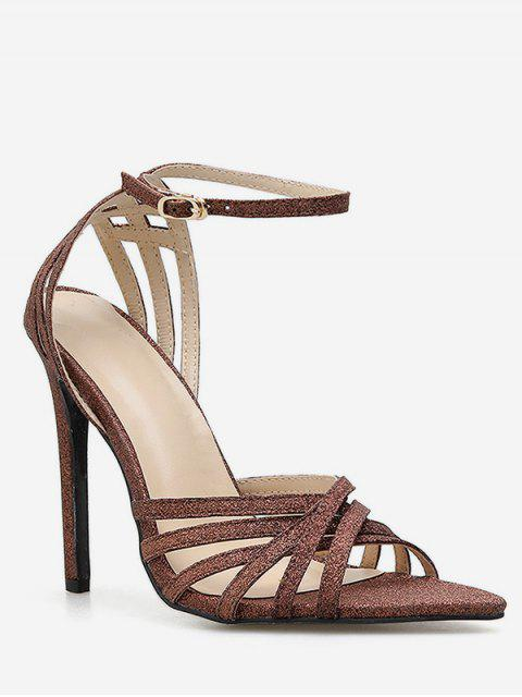 outfits Glitter Strappy High Heel Sandals - BROWN EU 40 Mobile