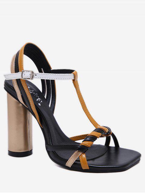 fashion Color Block T Strap Chunky Heel Sandals - BLACK EU 37 Mobile