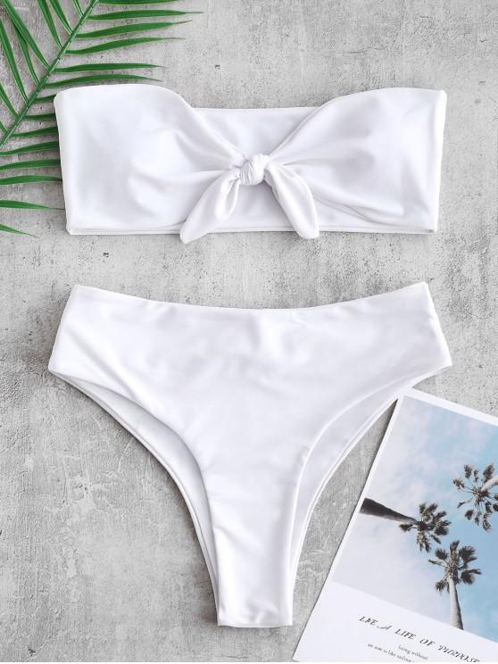 ZAFUL conjunto de Bikini Bandeau Recorte Atado - Blanco L