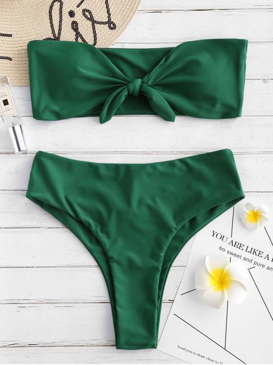 ZAFUL conjunto de Bikini Bandeau Recorte Atado - Bosque Verde Mediana L