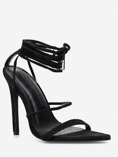 Ankle Wrap Stiletto Heel Sandals - Black Eu 40