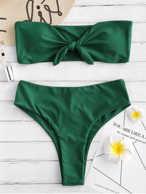 fancy ZAFUL Tied Cutout Bandeau Bikini Set - MEDIUM FOREST GREEN M Mobile