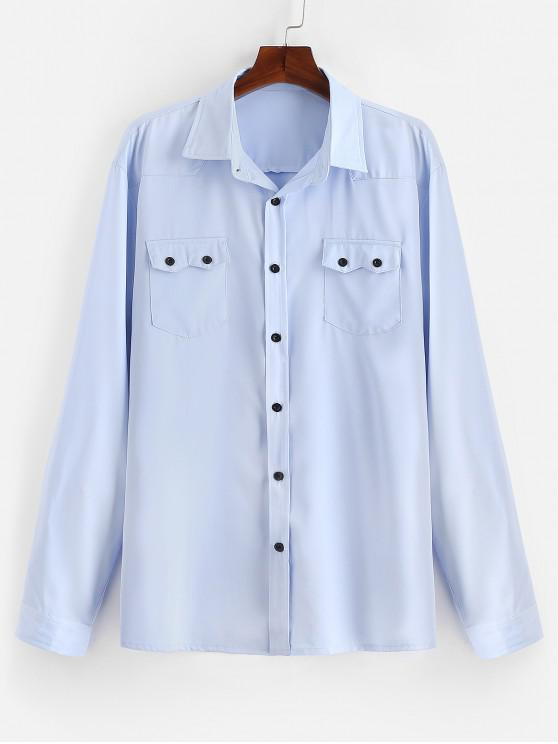 ladies Chest Flap Pockets Casual Shirt - LIGHT BLUE XL