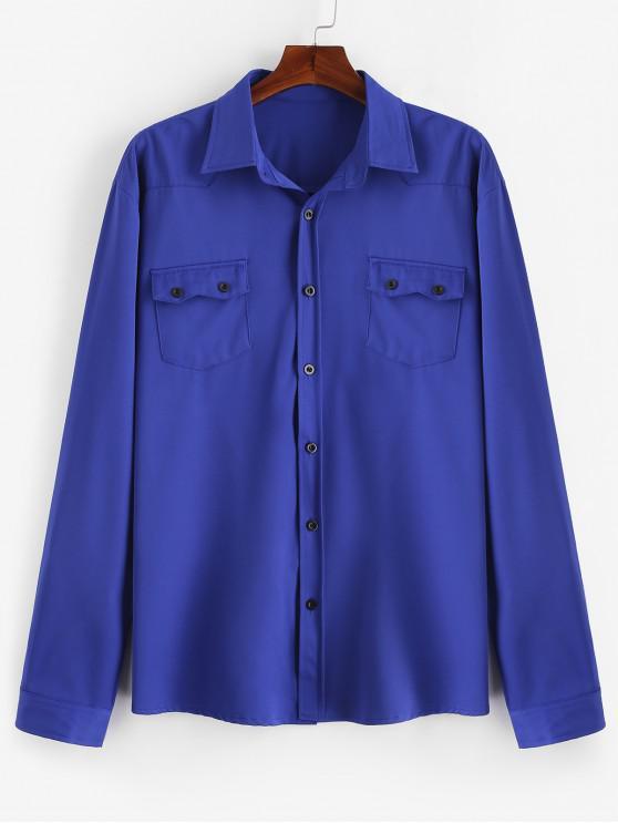 Camisa casual de bolsillos con solapa en el pecho - Azul XL