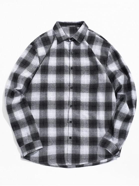 online Contrast Plaid Print Button Up Shirt - BLACK 2XL