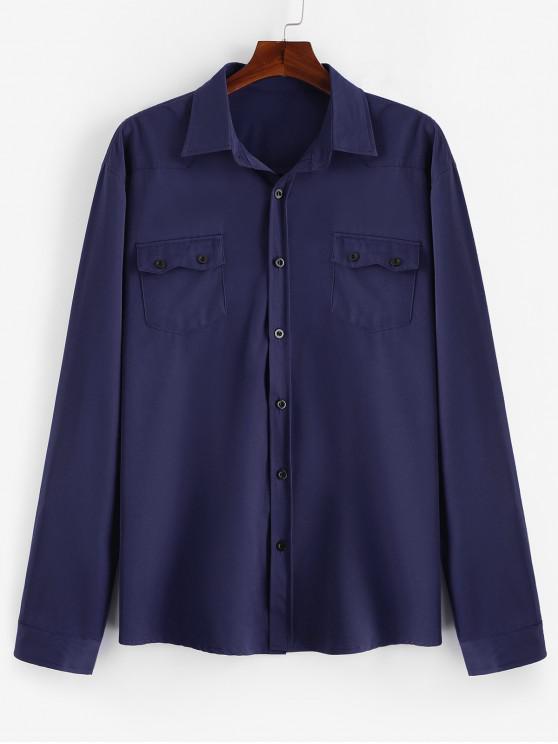 Camisa casual de bolsillos con solapa en el pecho - Cadetblue XL