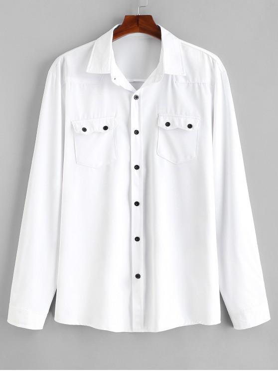 Camisa casual de bolsillos con solapa en el pecho - Blanco M