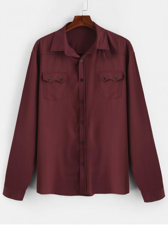 shop Chest Flap Pockets Casual Shirt - RED WINE XL
