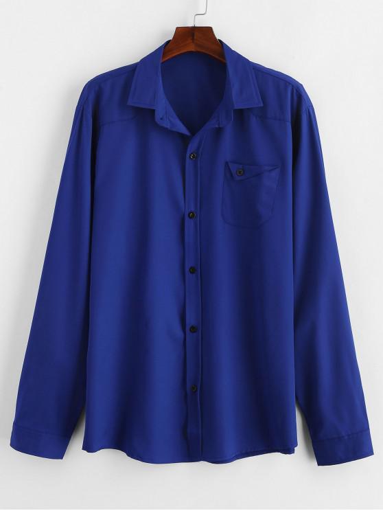 Camicia In Tinta Unita Con Tasca - Blu 2XL