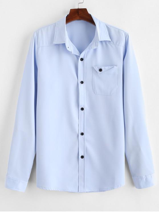 Brusttasche aus festem Hemd - Helles Blau XL