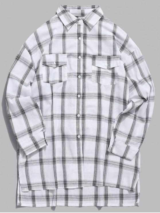 trendy Chest Flap Pockets Tartan Shirt - WHITE S