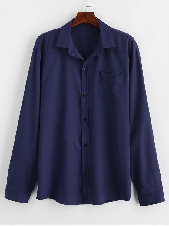 Camicia In Tinta Unita Con Tasca - Cadetblue 2XL