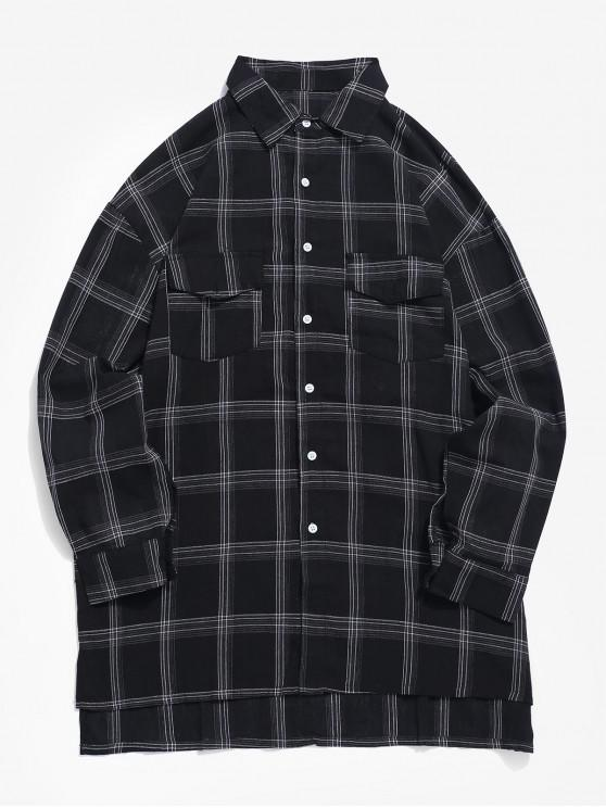 outfit Chest Flap Pockets Tartan Shirt - BLACK S