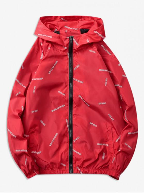 shops Letter Printed Quick Dry Jacket - RED 2XL