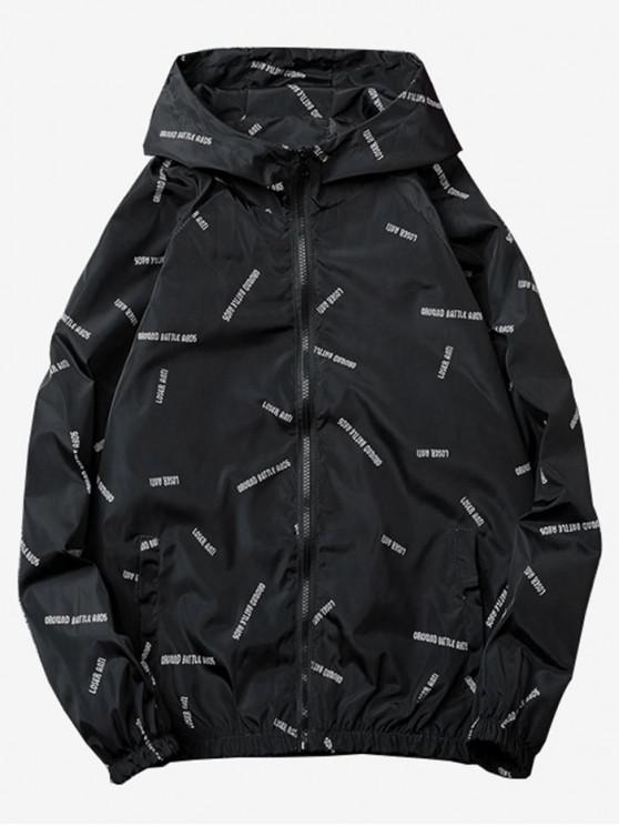 fancy Letter Printed Quick Dry Jacket - BLACK 2XL