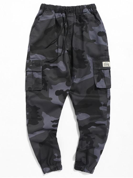 trendy Letter Patched Camouflage Jogger Pants - NAVY CAMOUFLAGE M