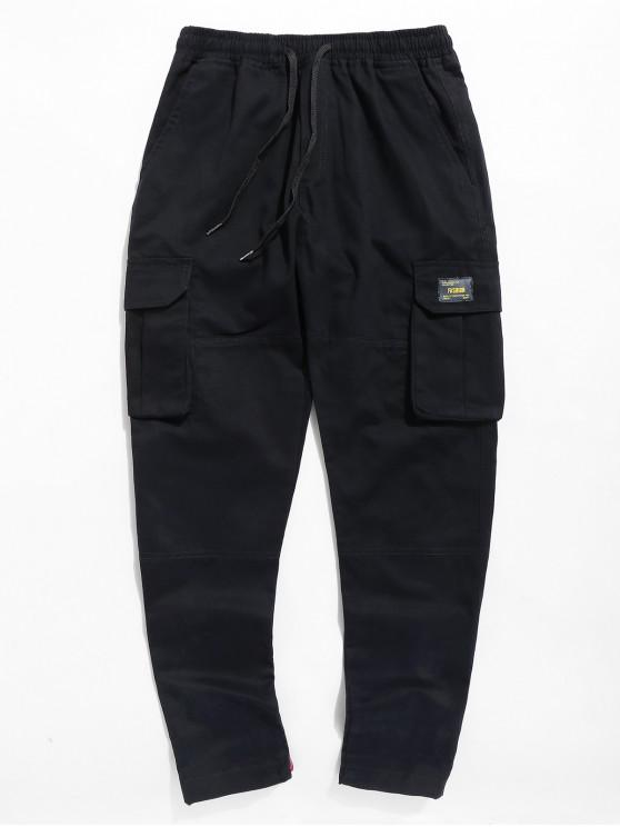 outfit Letter Pocket Drawstring Pants - BLACK 2XL
