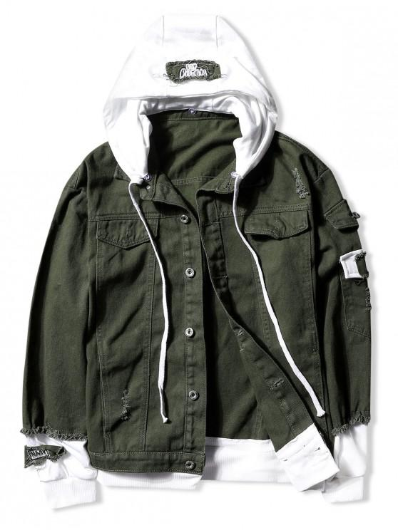 women Casual Faux Pocket Ripped Letter Number Applique Hooded Jacket - ARMY GREEN L