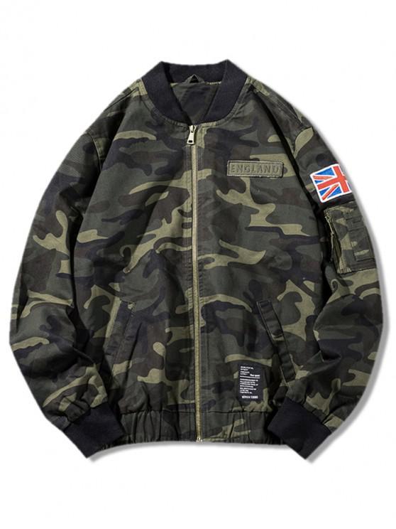 buy Camo Zip Up Bomber Jacket - CAMOUFLAGE GREEN S