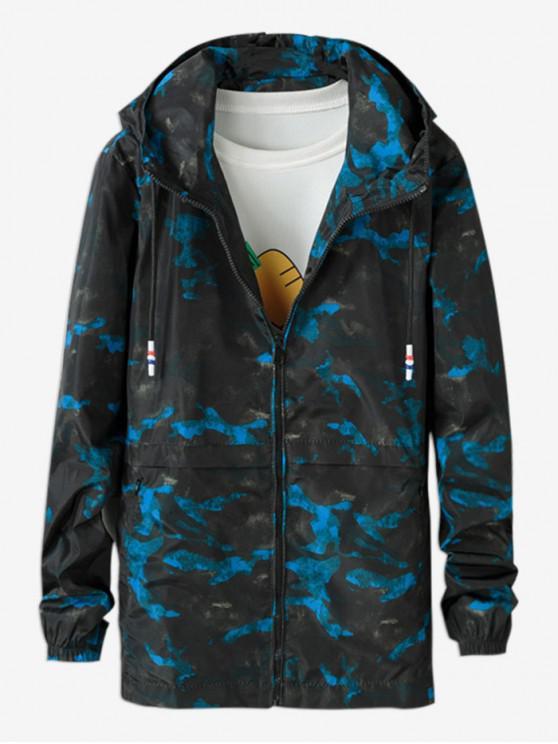 women Camo Printed Zipper Jacket - DEEP SKY BLUE XL