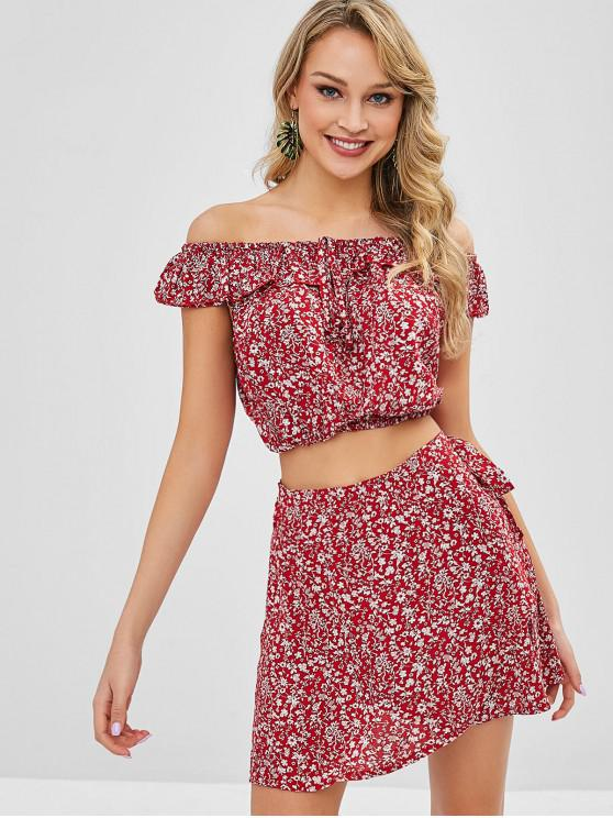 hot Tiny Floral Off Shoulder Wrap Skirt Set - CHERRY RED S