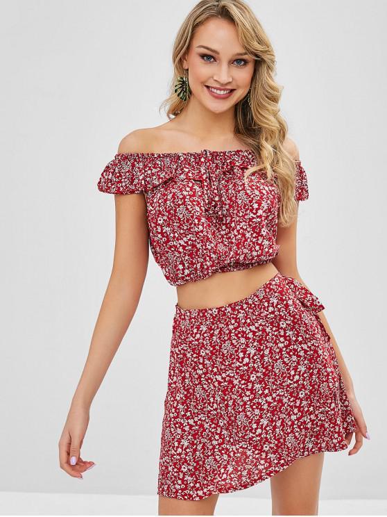 unique Tiny Floral Off Shoulder Wrap Skirt Set - CHERRY RED L