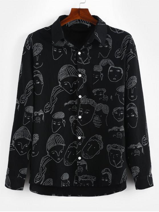 shop Graphic Print Long Sleeves Shirt - BLACK 3XL
