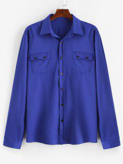 Chest Flap Pockets Casual Shirt - Blue M