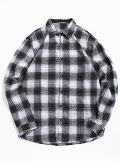 Contrast Plaid Print Button Up Shirt - Black M