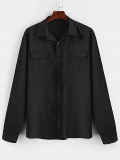 Camisa Casual De Bolsillos Con Solapa En El Pecho - Negro 2xl