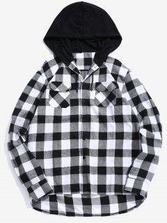 Pocket Hood Patchwork Plaid Shirt - Black L