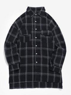 Camisa De Tartán De Bolsillos Con Solapa En El Pecho - Negro 2xl