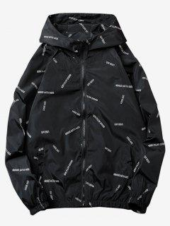 Letter Printed Quick Dry Jacket - Black 2xl
