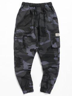 Letter Patched Camouflage Jogger Pants - Navy Camouflage M