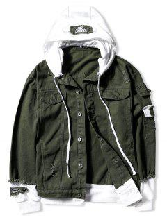 Casual Faux Pocket Ripped Letter Number Applique Hooded Jacket - Army Green L