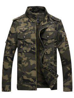 Appliques Zipper Camouflage Jacket - Medium Sea Green Xs