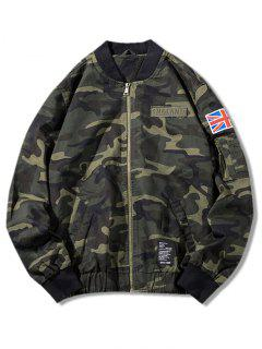 Camo Zip Up Bomber Jacket - Camouflage Green L