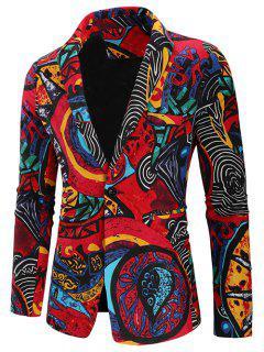 Abstract Print One Button Shawl Collar Blazer - Multi L