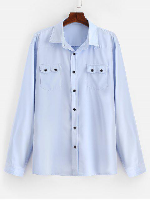 ladies Chest Flap Pockets Casual Shirt - LIGHT BLUE XL Mobile