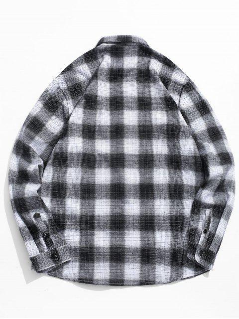 online Contrast Plaid Print Button Up Shirt - BLACK 2XL Mobile