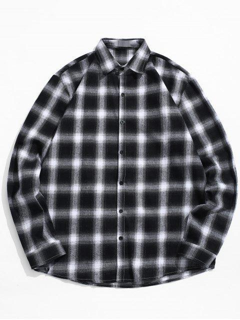 Chemise décontractée à imprimé tartan - Noir M Mobile