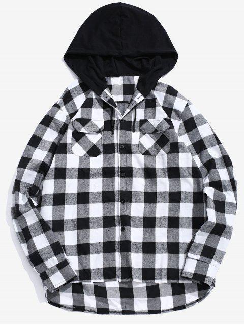 Chemise à Capuche à Carreaux avec Poche à Rabat - Noir M Mobile