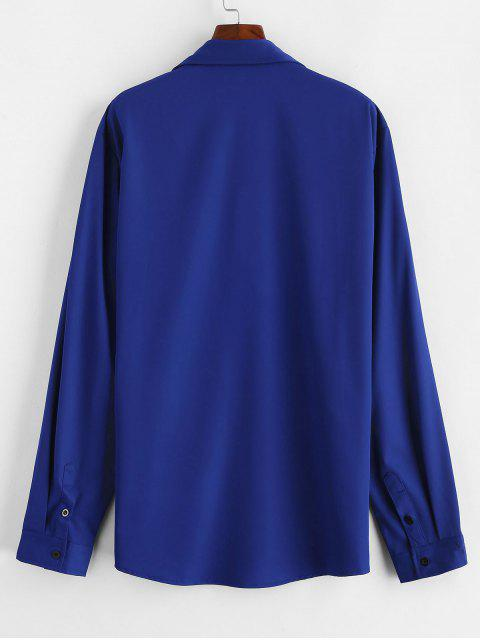 lady Chest Pocket Solid Shirt - BLUE 2XL Mobile
