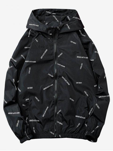 fancy Letter Printed Quick Dry Jacket - BLACK 2XL Mobile
