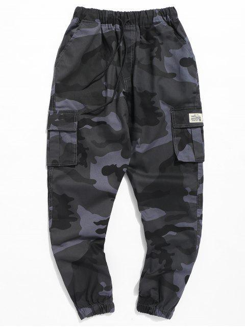 unique Letter Patched Camouflage Jogger Pants - NAVY CAMOUFLAGE 3XL Mobile