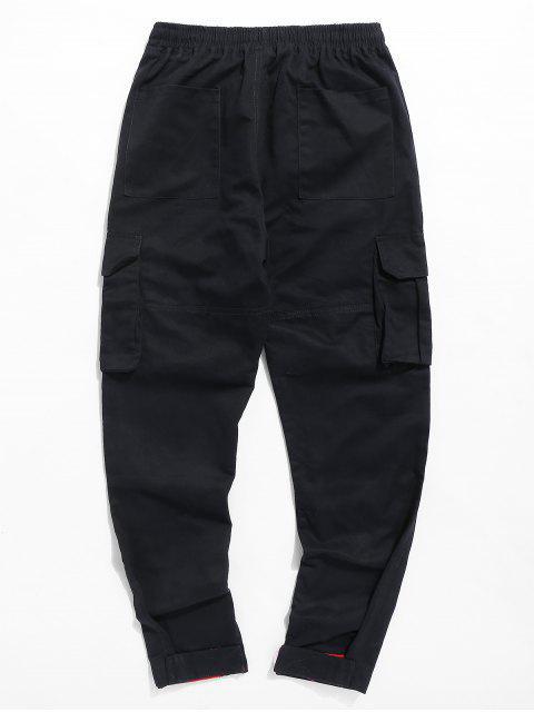 outfit Letter Pocket Drawstring Pants - BLACK 2XL Mobile